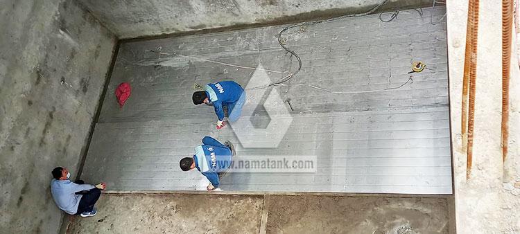 bể ngầm inox 216 khối đang lắp ráp